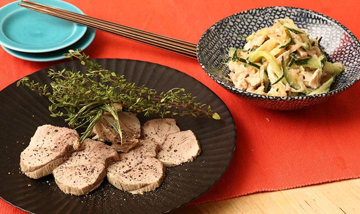ハーブとお塩で煮豚&鶏胸肉とキュウリのタラコ和え